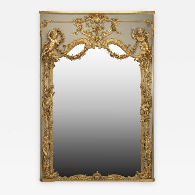 A Louis XV Style Parcel Gilt Trumeau Mirror