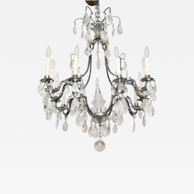 A Louis XV Style Silvered Metal Chandelier