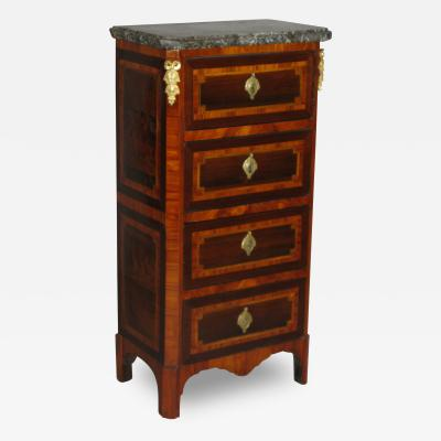 A Louis XVI Parquetry Chest of Drawers or Bedside Table