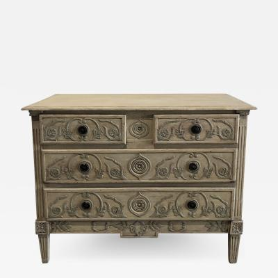 A Louis XVI Provincial Creme and Grey Painted 3 Drawer Commode Late 18th C