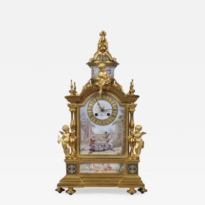 A Louis XVI Style Champlev Enamel Mantel Clock