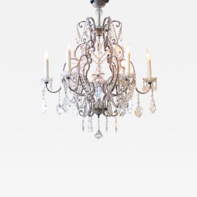 A Lustrous Italian Rococo Style Beaded 6 Light Chandelier