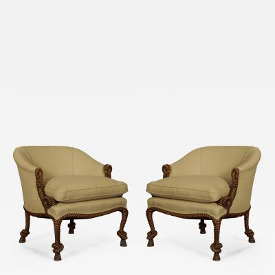 A M E Fournier A Pair of Carved Rope Twist Armchairs In the manner of A M E Fournier