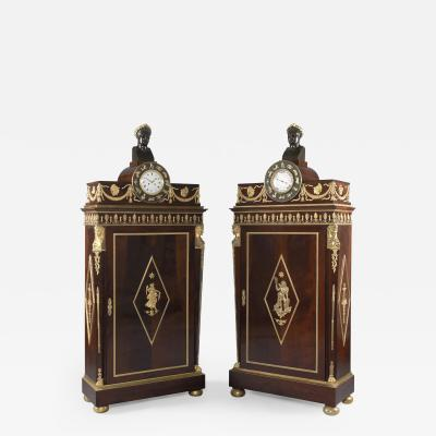 A M E Fournier A Pair of Empire Style Mahogany Side Cabinets