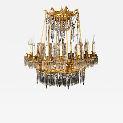 A Magnificent Antique Russian Neoclassical Gilt Bronze and Crystal Chandelier