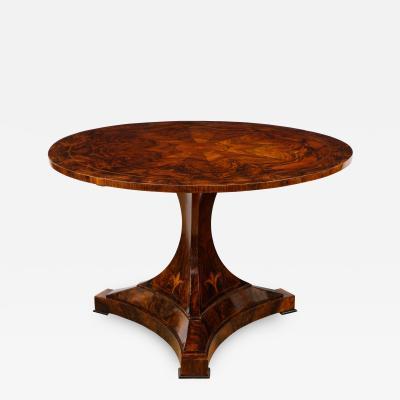 A Magnificent Burl Walnut Tilt Top Center Table