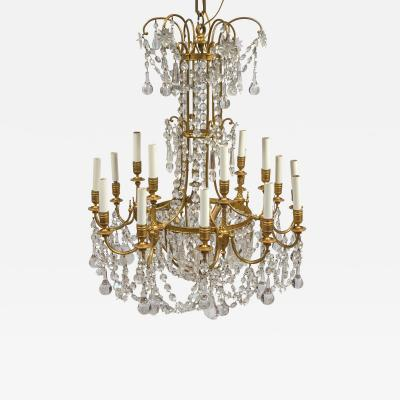 A Magnificent French Baccarat Crystals and Ormolu 18 Light Chandelier