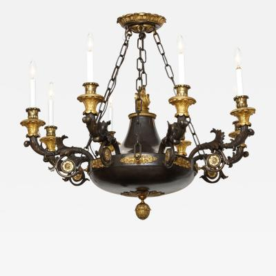 A Magnificent French Empire Patinated Bronze and Gold Dore 8 Light Chandelier