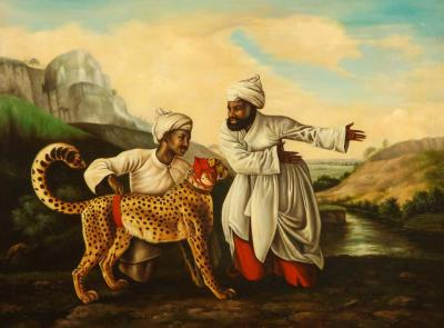 A Magnificent Orientalist Oil on Canvas Painting Escorting The Cheetah C 1920