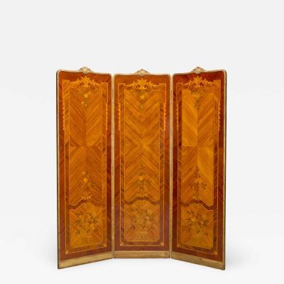 A Marquetry Inlaid Three Fold Screen