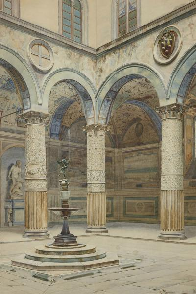 A Marrani Antique watercolour of Palazzo Signoria in Florence