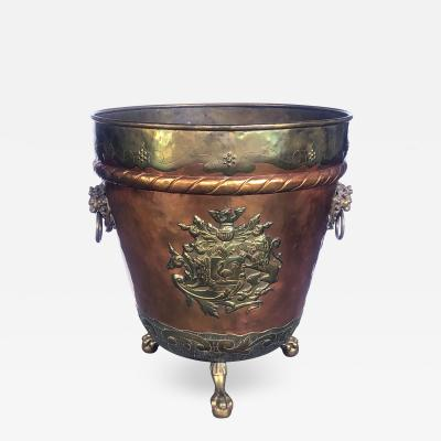 A Massive English Brass and Copper Log Bin w Armorial Crests