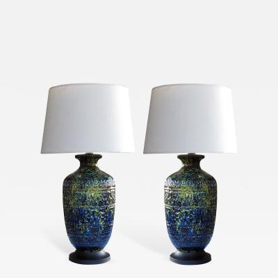 A Massive Pair of American Ceramic Lamps with Blue Green and Yellow Drip Glaze