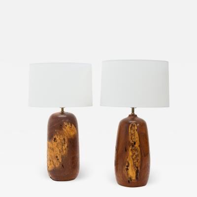 A Matching Pair of Burl wood Turned Lamps
