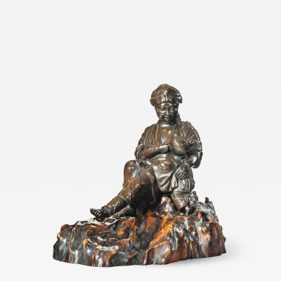 A Meiji period bronze sculpture of a mother and son by Atsuyoshi