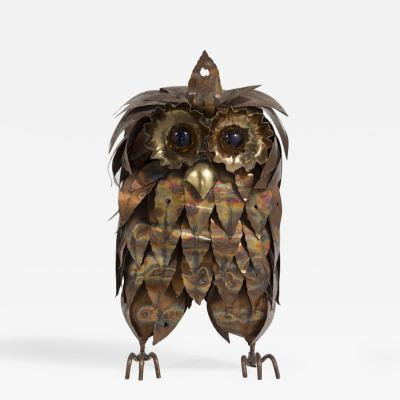 A Metal Brutalist Owl Table Sculpture 1960s