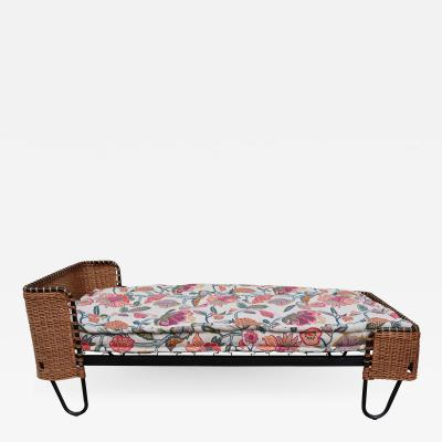 A Metal and Rattan Bed France 1970
