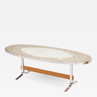 A Mid Century German mosaic coffee table on a wooden and chrome base