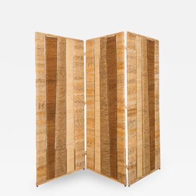 A Mid Century rattan Three Fold Screen or room divider