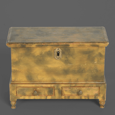 A Miniature Smoke Decorated Blanket Dower Chest