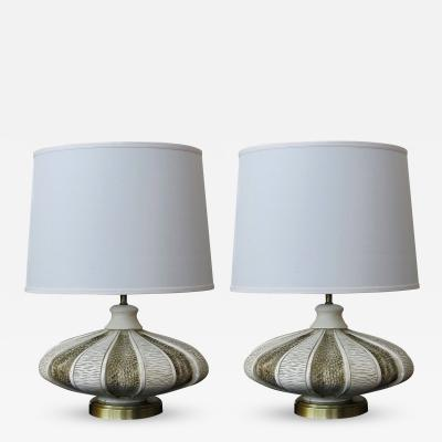 A Mod Pair of American Chalkware Saucer Form Lamps