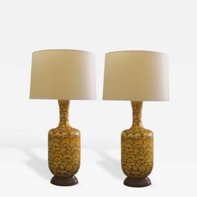 A Mod Pair of American Mustard Crater Glazed Lamps