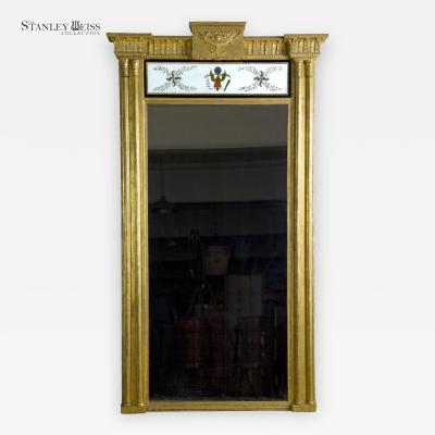 A Monumental Gilt Pier Mirror with Reverse Painting and American Eagle