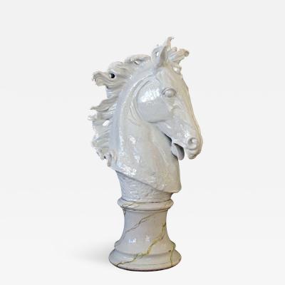 A Monumental Italian Majolica Mid Century White Glazed Horse Head