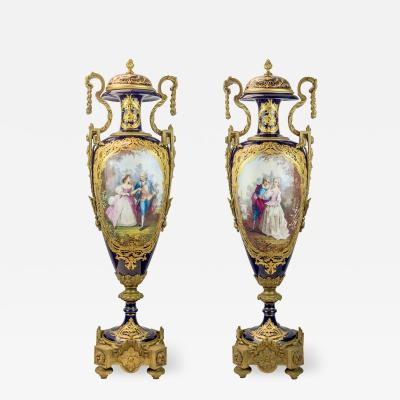 A Monumental Pair of Exquisite S vres Gilt Bronze Ormolu Mounted Vases