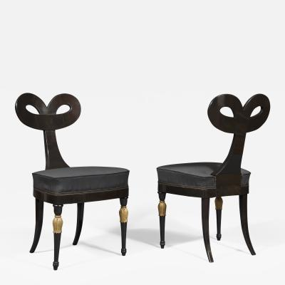 A Most Remarkable Ebonized And Partially Gilded Side Chair Of Unique Form
