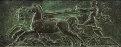 A Neoclassical Patinated Copper Relief of Apollo