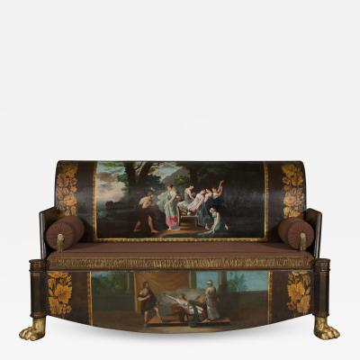 A Neoclassical Polychrome Painted Sofa Depicting Two Scenes From Homers Odyssey