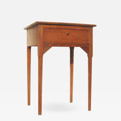A New Hampshire c 1790 cherry and flame birch one drawer stand