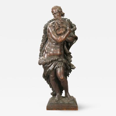 A Northern European Baroque Wood Sculpture Representing Winter