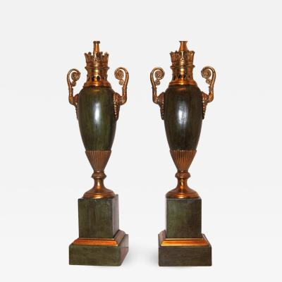 A PAIR OF FRENCH EMPIRE STYLE TABLE LAMPS