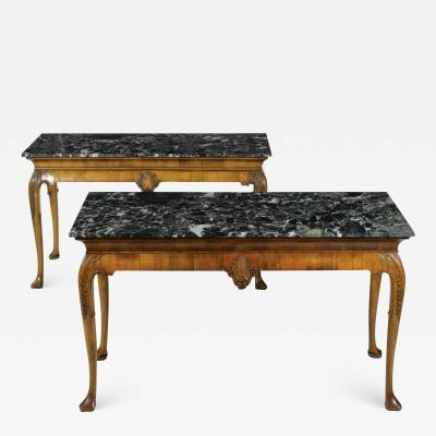 A PAIR OF GEORGE II STYLE WALNUT CONSOLE TABLES