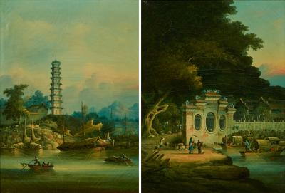 A PAIR OF PAINTINGS DEPICTING THE CHIGANG PAGODA AND WAMPOA REACH