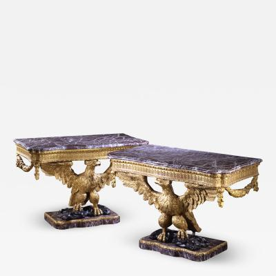 A PAIR OF WILLIAM IV GILTWOOD CONSOLE TABLES