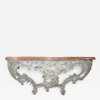 A Painted Wood with Marble Top Console Table