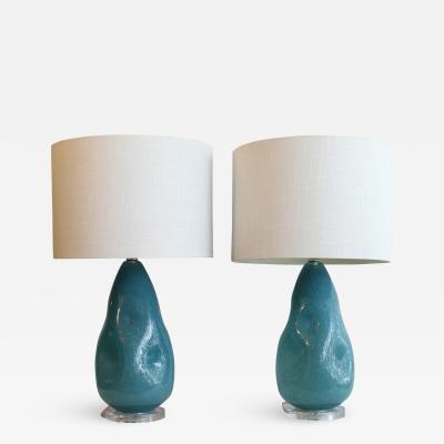 A Pair OF Hand Blown Murano Glass Lamps