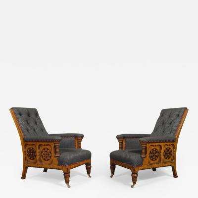 A Pair Of Ashwood And Inlaid Arts And Crafts Period Armchairs
