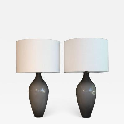A Pair Of Dove Gray Murano Glass Table Lamps