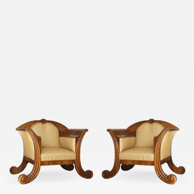 A Pair Of Figured Walnut And Carved Armchairs Of Large Scale