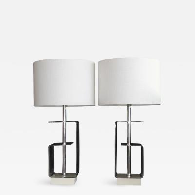 A Pair Of Geometric Lucite Table Lamps