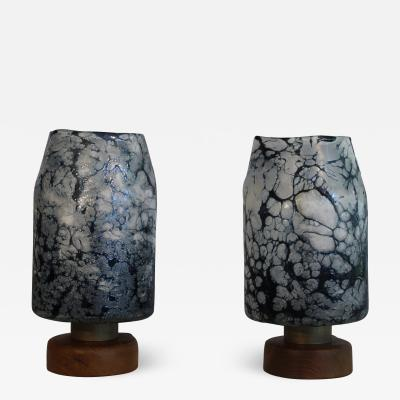A Pair Of Loetz Witwe Influence Table Lamps