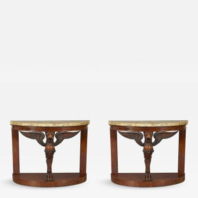 A Pair Of Mahogany Console Tables Bearing Fine Alabastro Fiorito Veneered Tops
