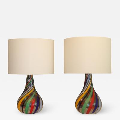 A Pair Of Multicolor Murano Table Lamps