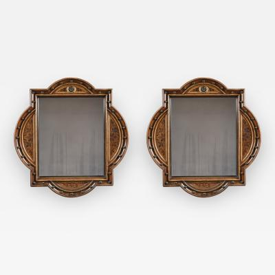 A Pair Of Neo Gothic Oak Walnut And Painted Mirrors Of Interesting Form