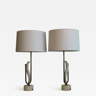 A Pair Of Transitional Sculptural Table Lamps