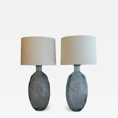 A Pair Of Voluminous Art Glass Table Lamps